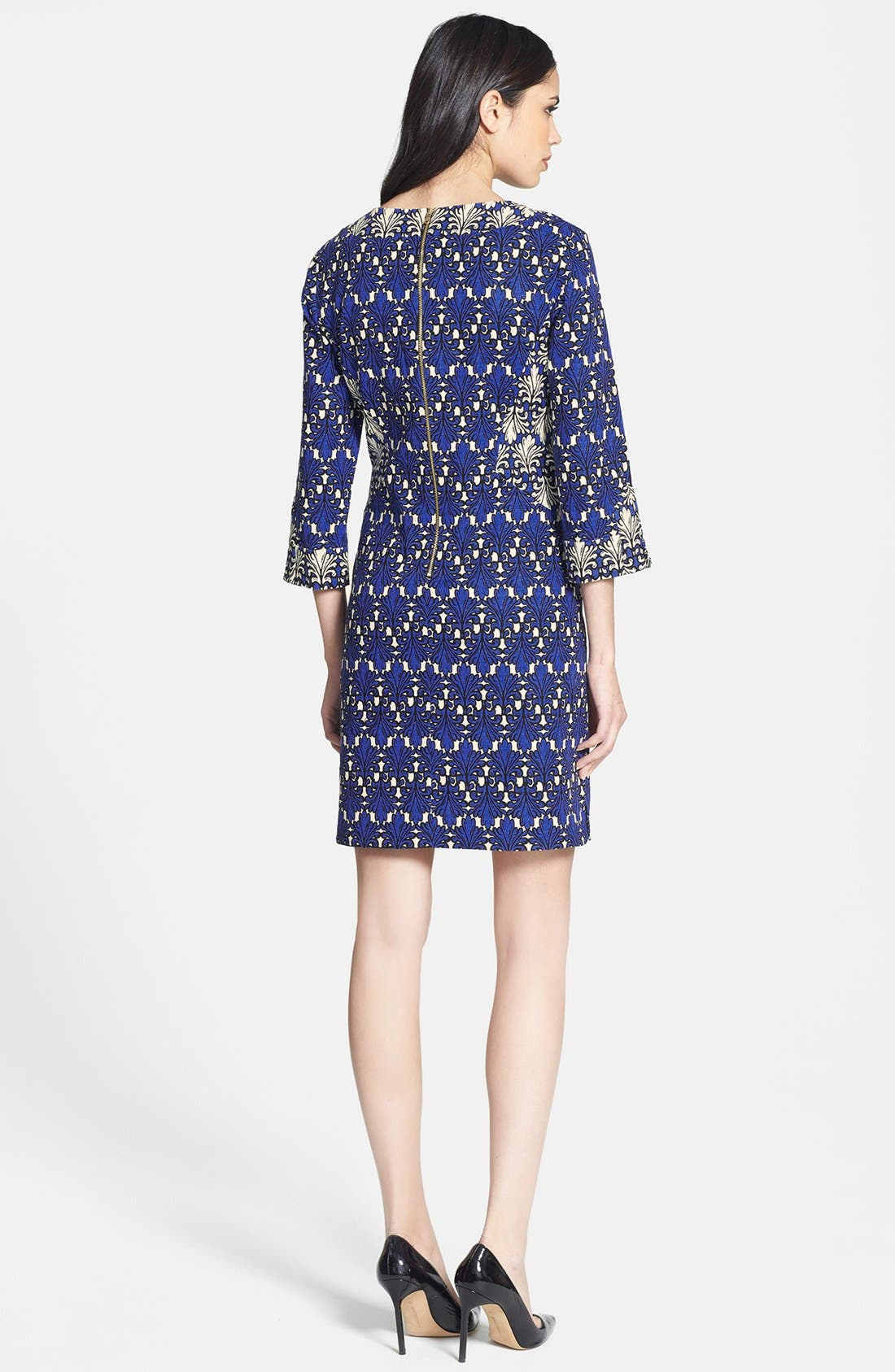Alternate Image 2  - Donna Morgan Print Cotton Jacquard Shift Dress