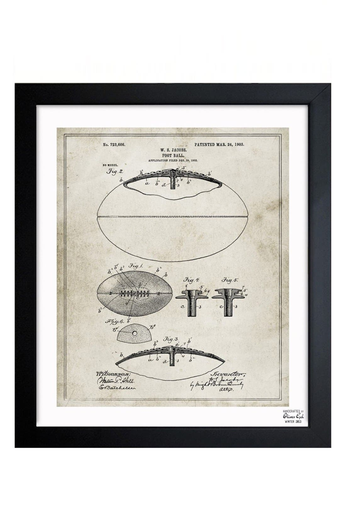 Alternate Image 1 Selected - Oliver Gal 'Football Blueprint' Framed Print