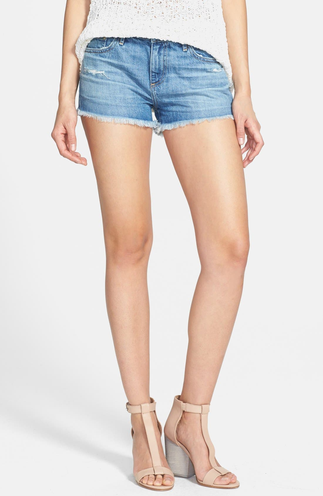 Alternate Image 1 Selected - AG 'Bonnie' Denim Cutoff Shorts (14 Year Tailspin)