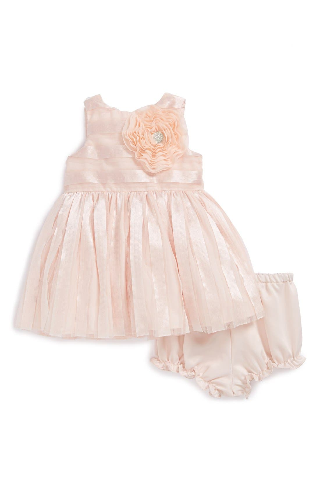 Main Image - Pippa & Julie Ribbon Stripe Dress & Bloomers (Baby Girls)