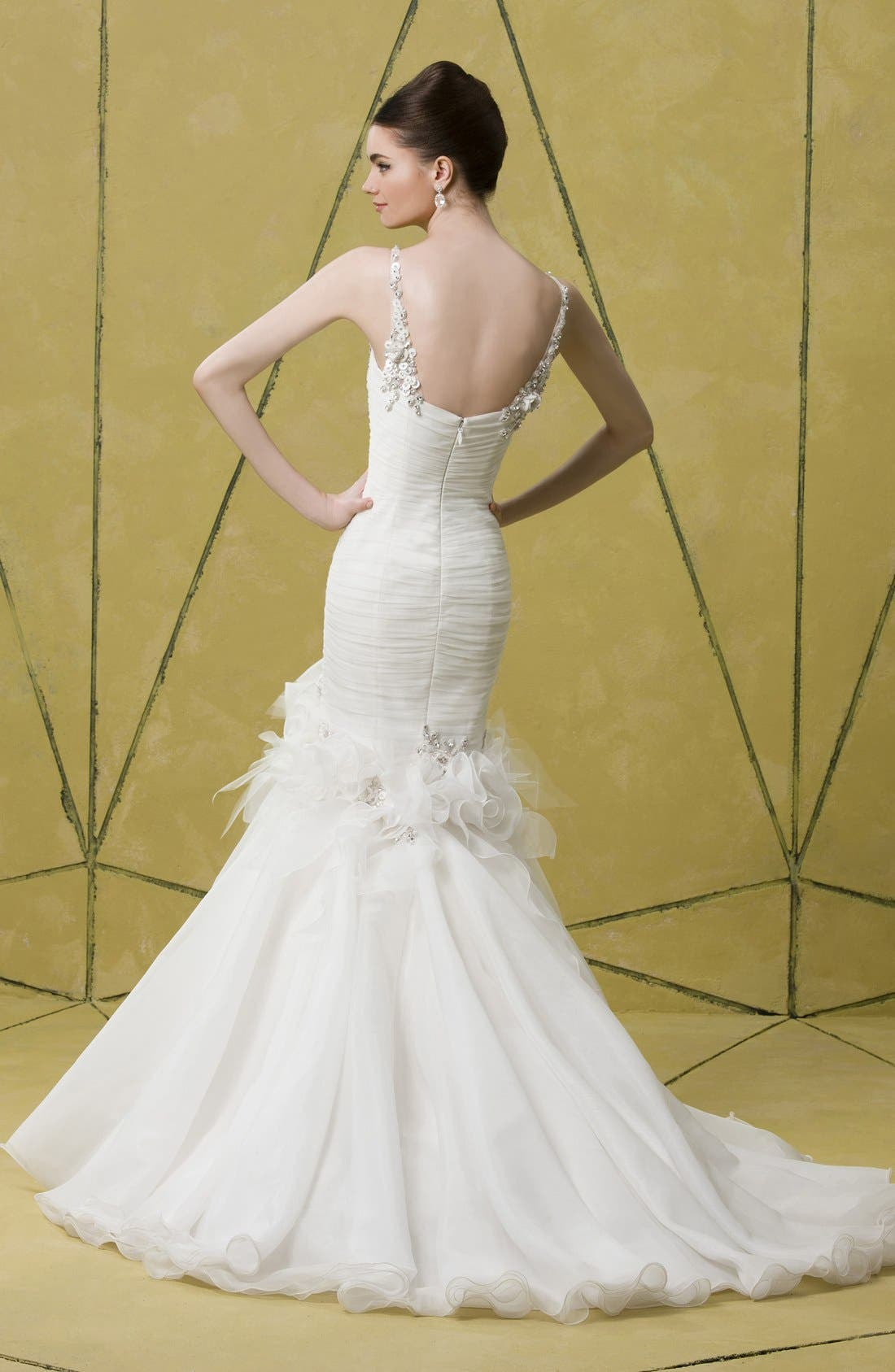 Alternate Image 5  - Badgley Mischka Bridal 'Grace' Embellished Tulle & Chiffon Mermaid Dress (In Stores Only)