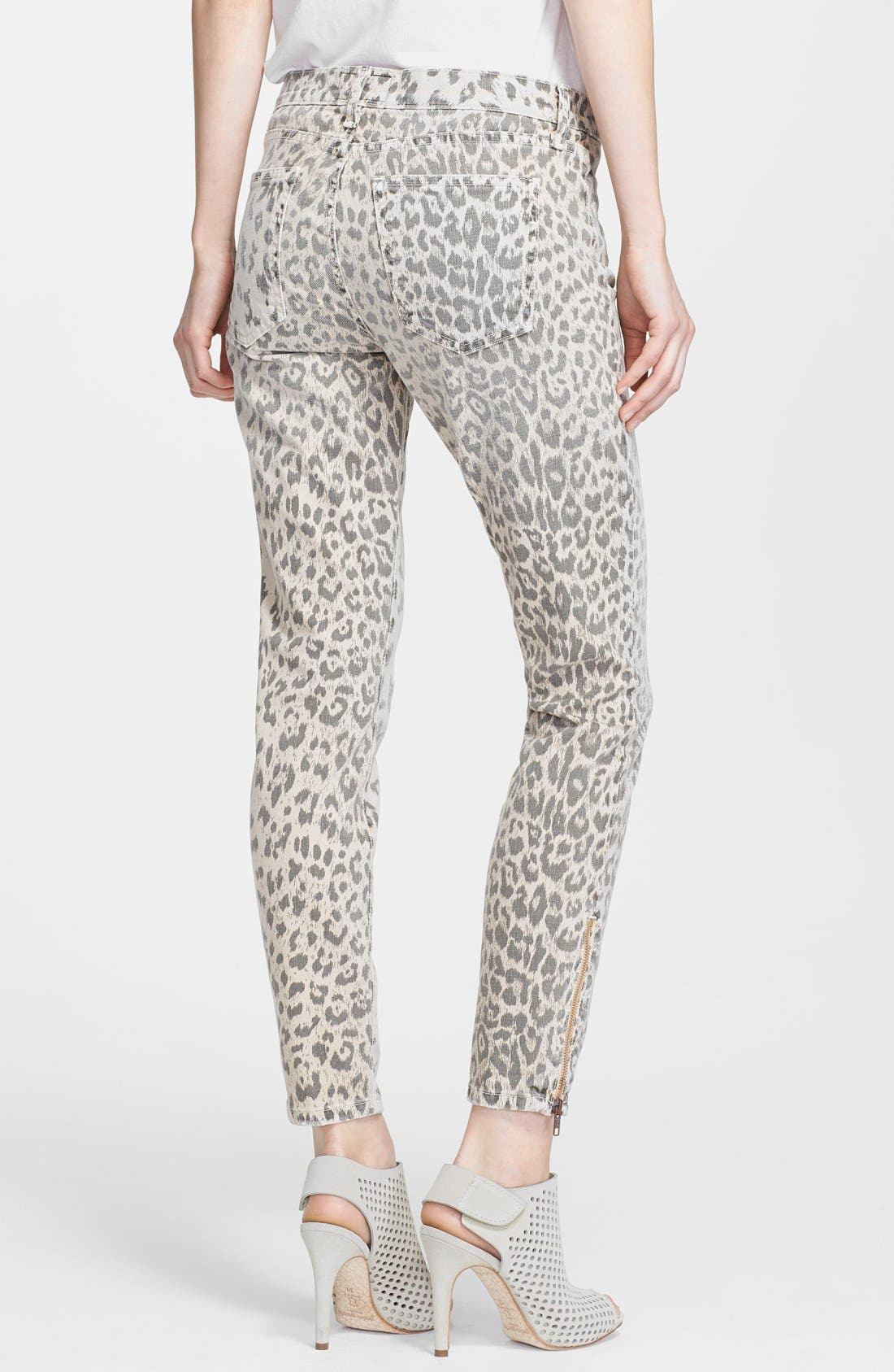 Alternate Image 2  - Current/Elliott 'The Soho' Leopard Print Zip Skinny Jeans (Stone Leopard)