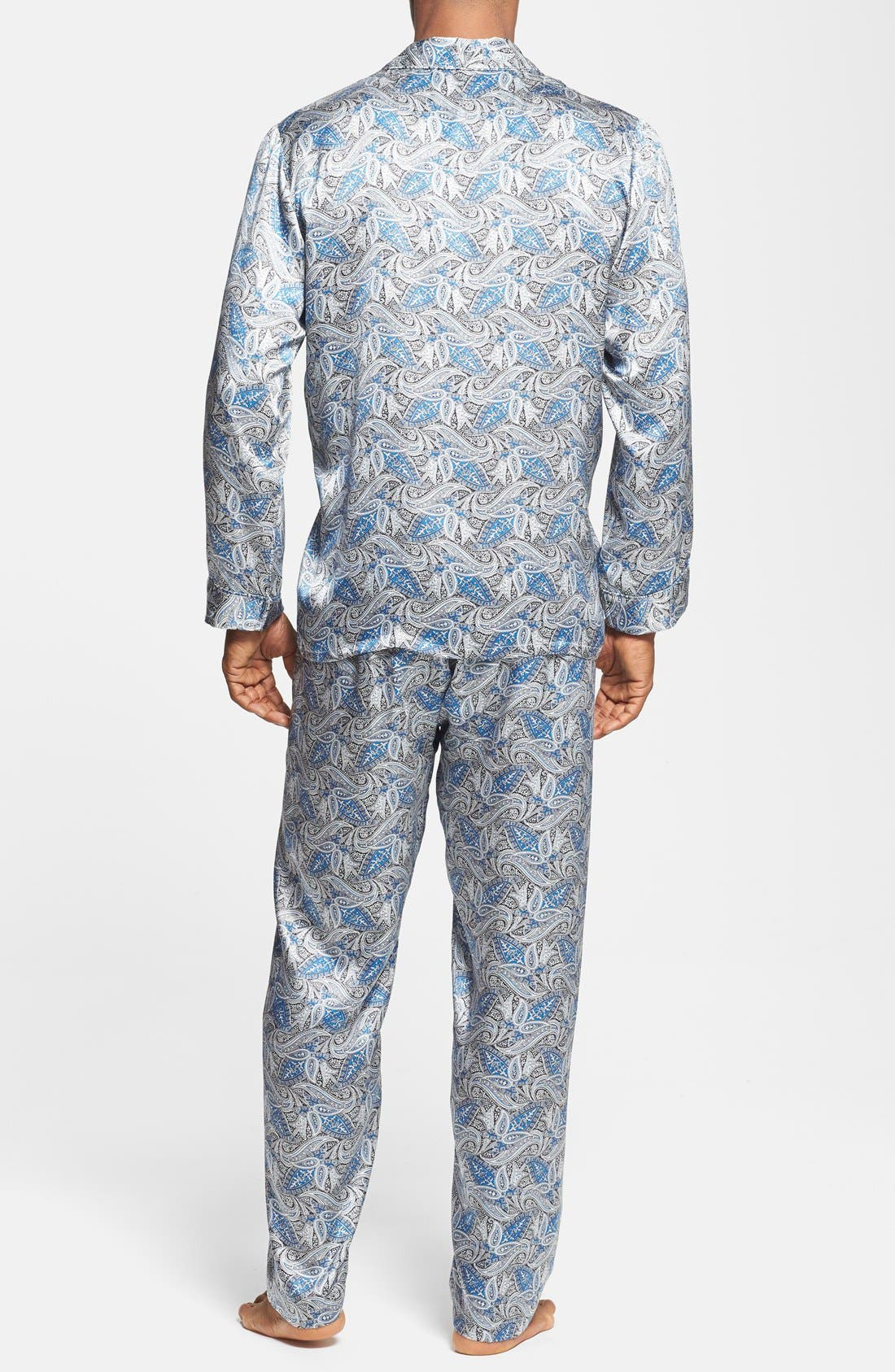 'Cypress' Silk Pajamas,                             Alternate thumbnail 2, color,                             Sky Blue