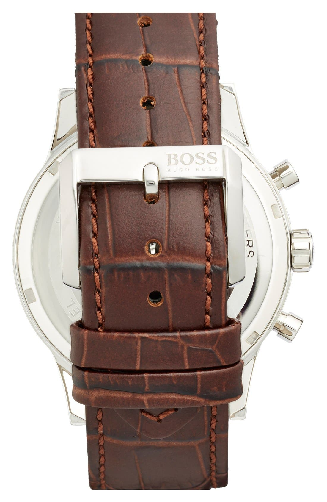 Alternate Image 2  - BOSS Stainless Steel & Leather Chronograph Watch, 44mm