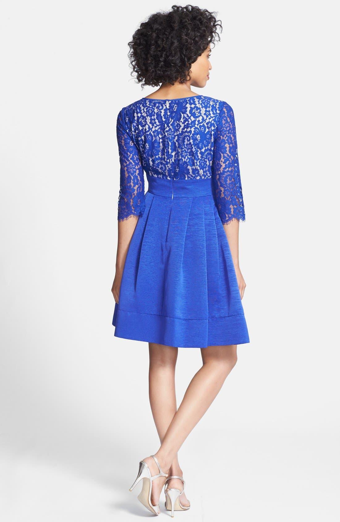 Alternate Image 2  - Eliza J Lace & Faille Dress