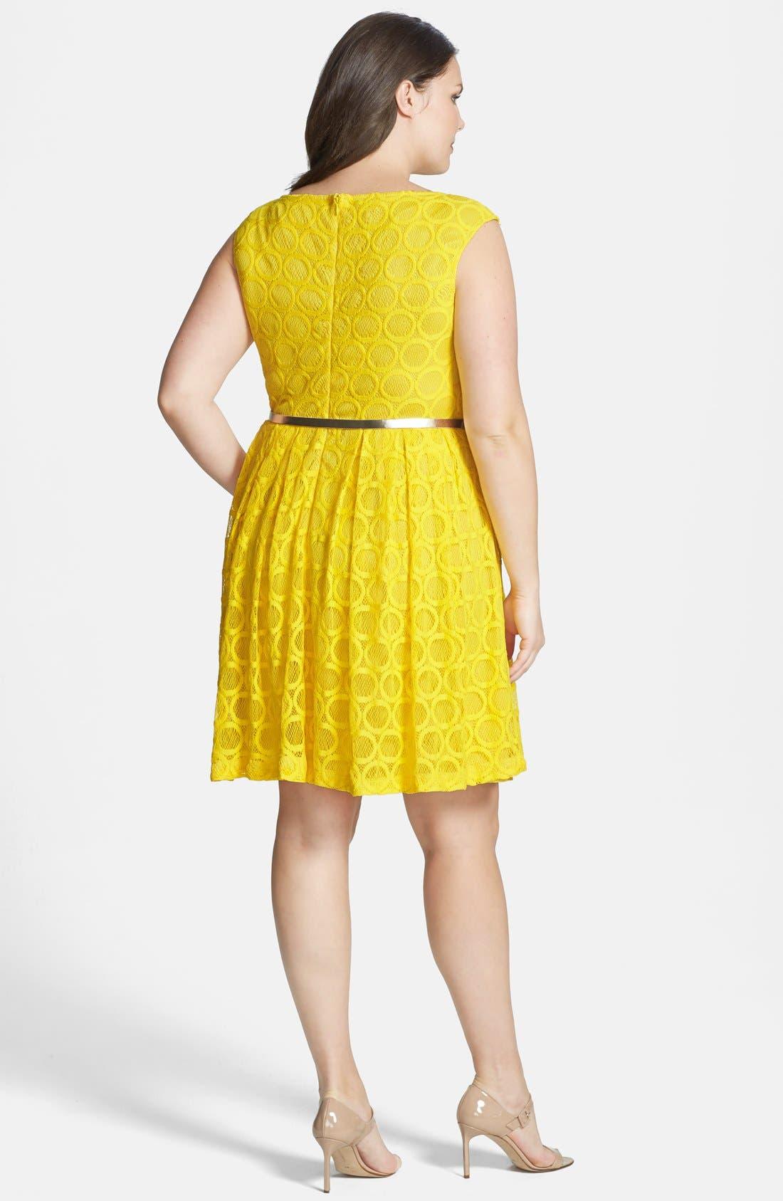 Alternate Image 2  - London Times 'Circle' Lace Fit & Flare Dress (Plus Size)
