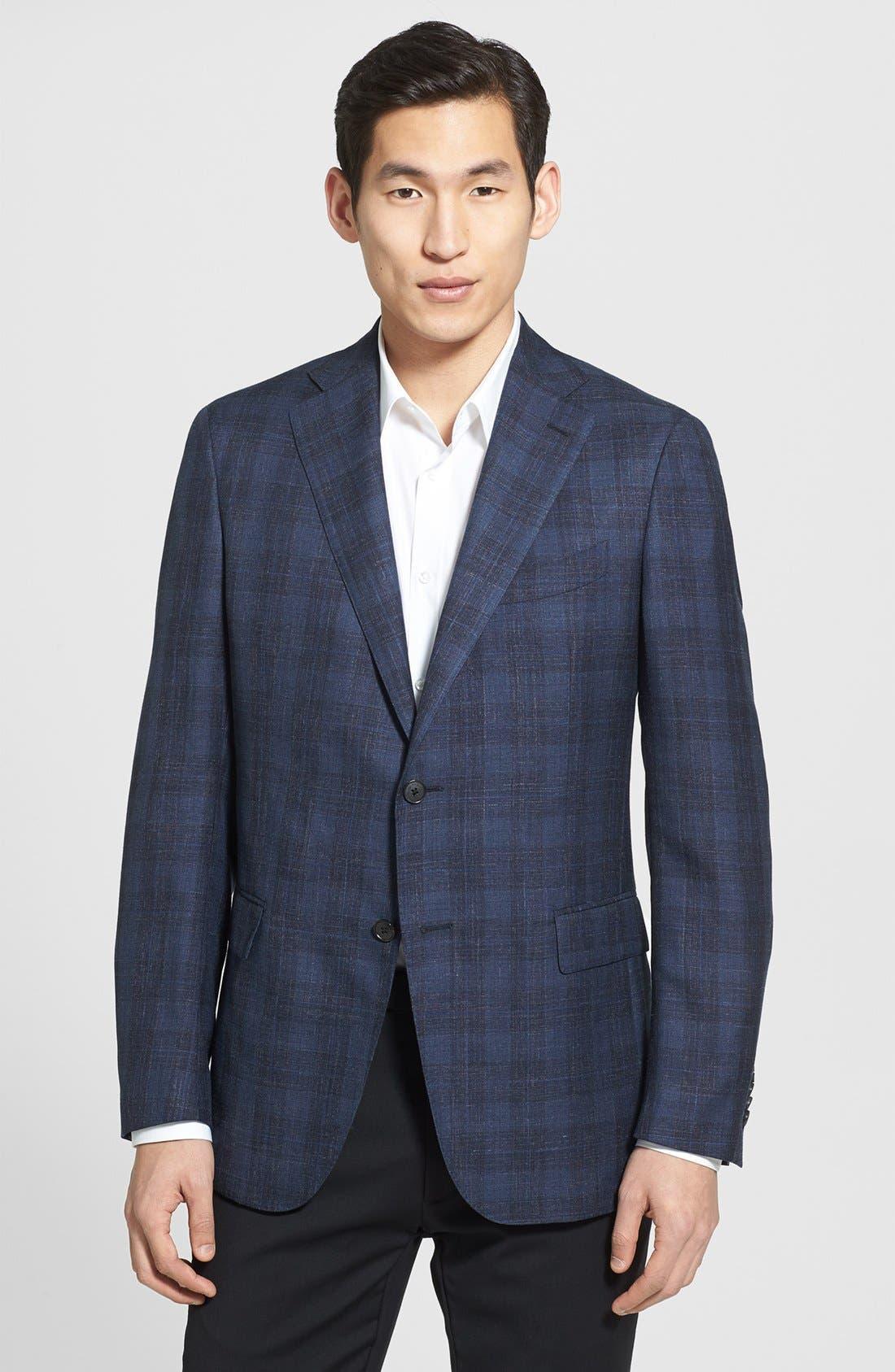 Alternate Image 1 Selected - Salvatore Ferragamo Wool Blend Plaid Blazer