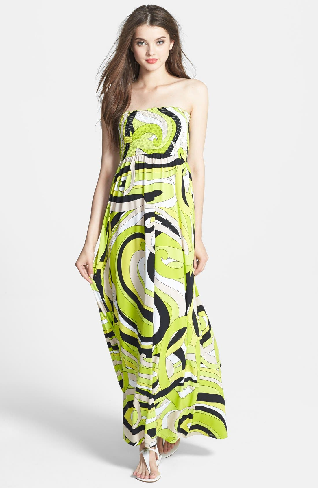 Main Image - MICHAEL Michael Kors Print Strapless Maxi Dress