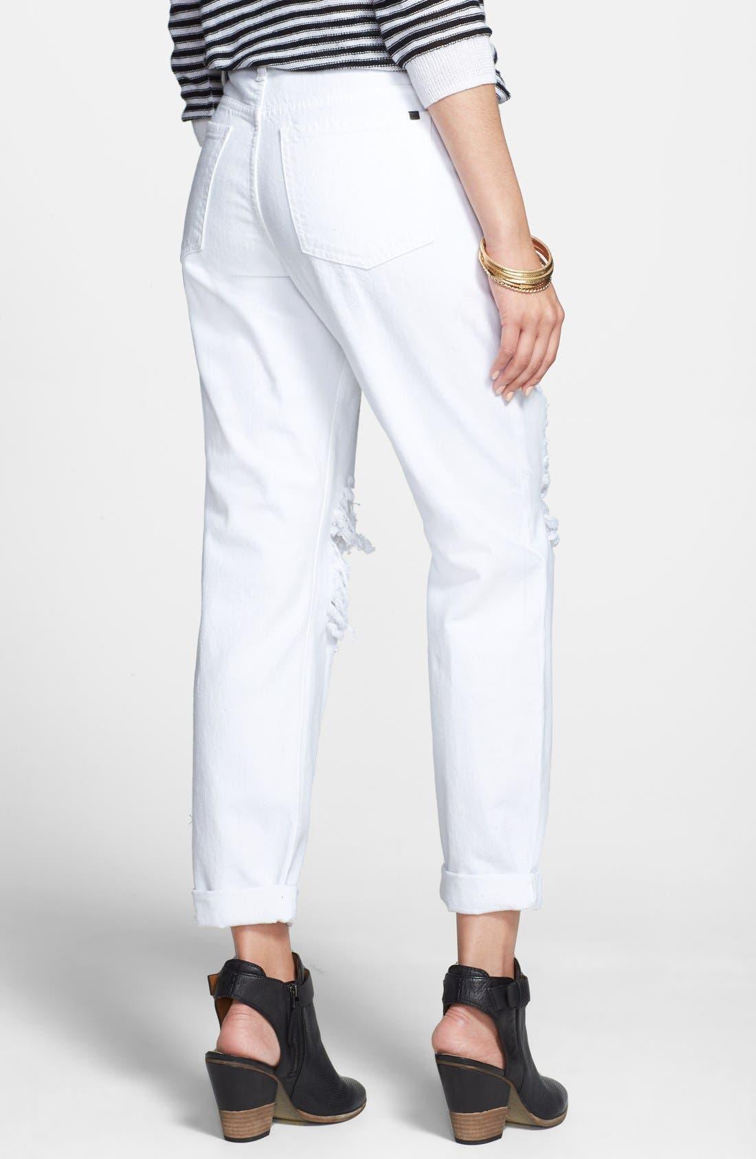 Alternate Image 2  - SP Black Shredded Boyfriend Jeans (White) (Juniors)