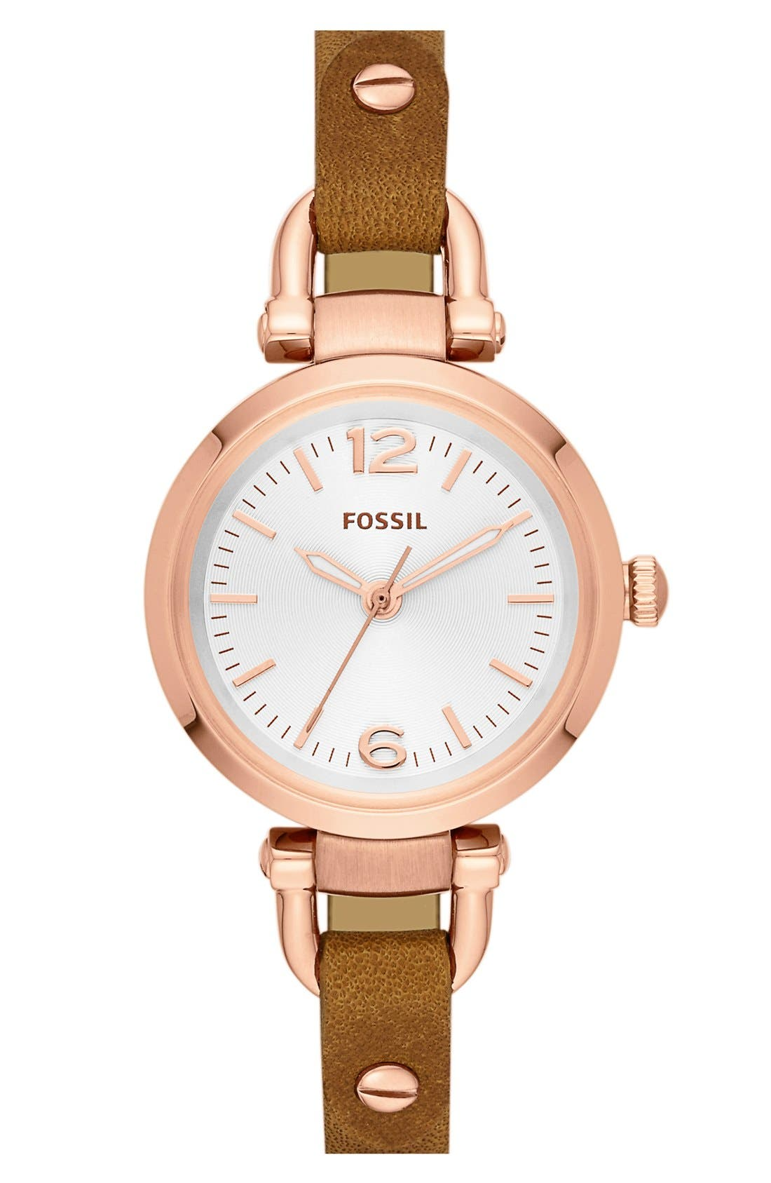 Main Image - Fossil 'Georgia' Reversible Leather Strap Watch, 26mm