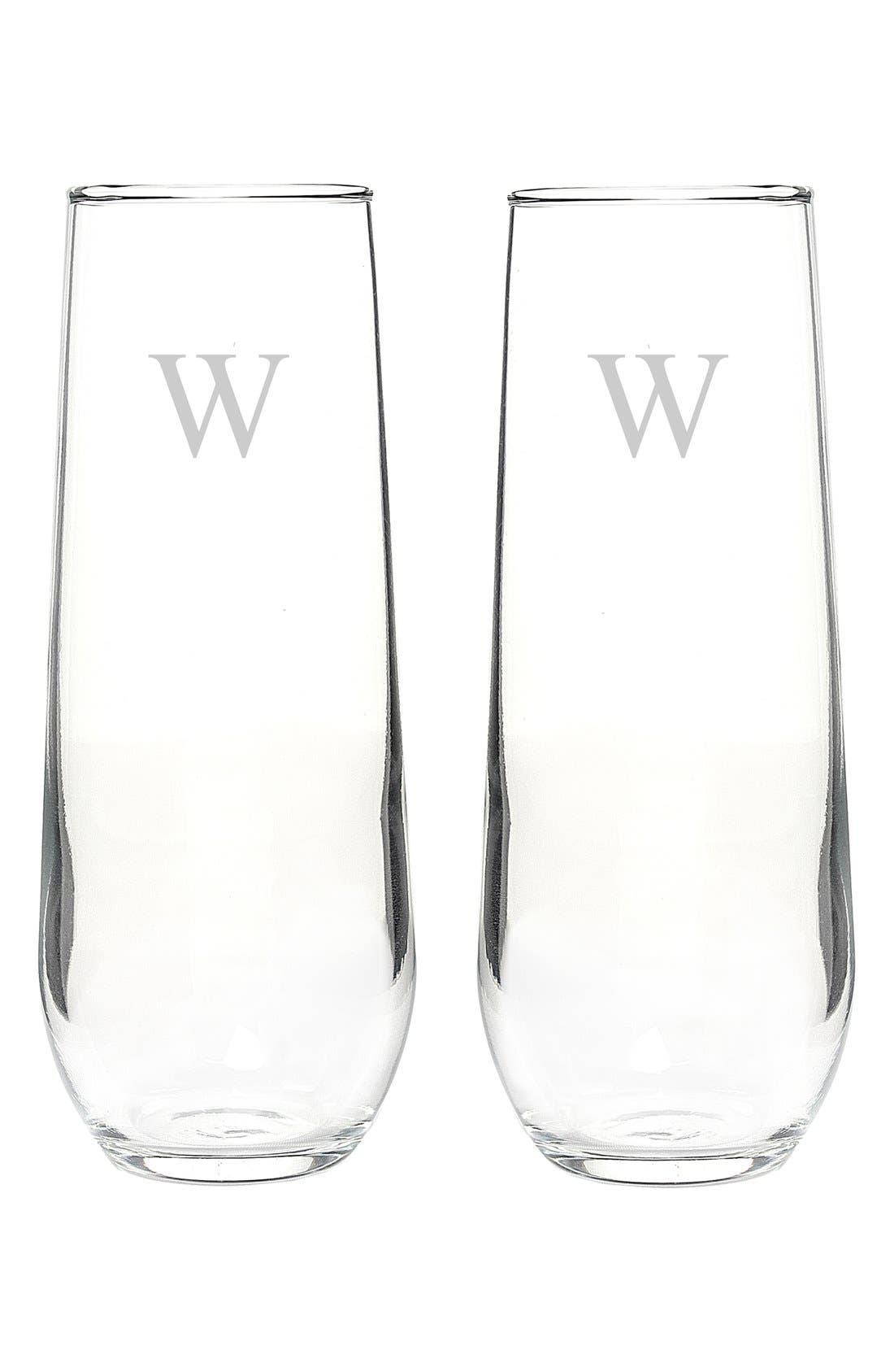 Personalized Stemless Champagne Flutes,                             Alternate thumbnail 2, color,                             W