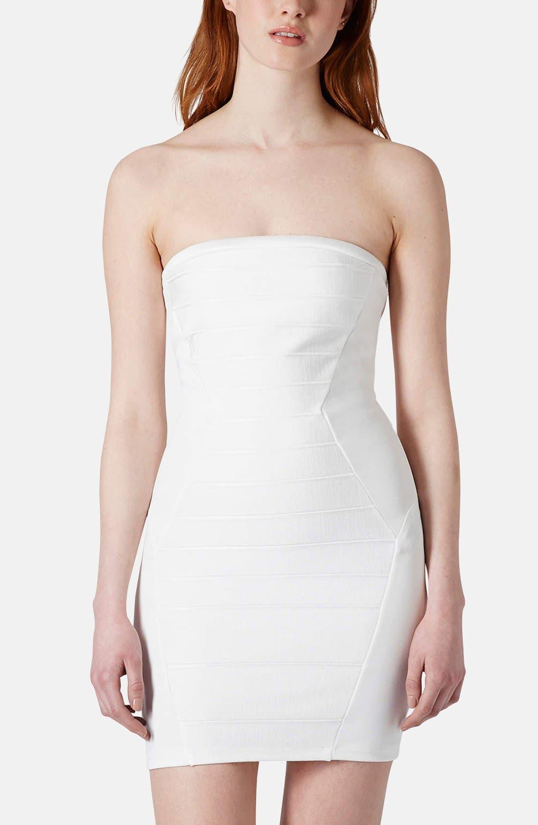 Main Image - Topshop Strapless Satin Body-Con Dress (Petite)
