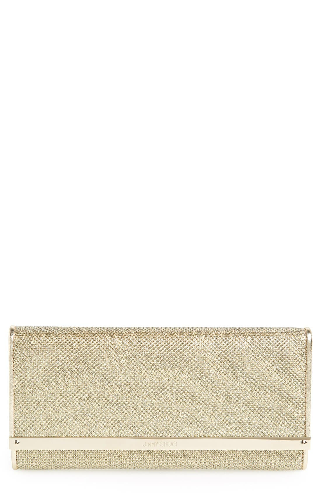 'Milla' Glitter Lamé Wallet on a Chain,                             Main thumbnail 1, color,                             Gold