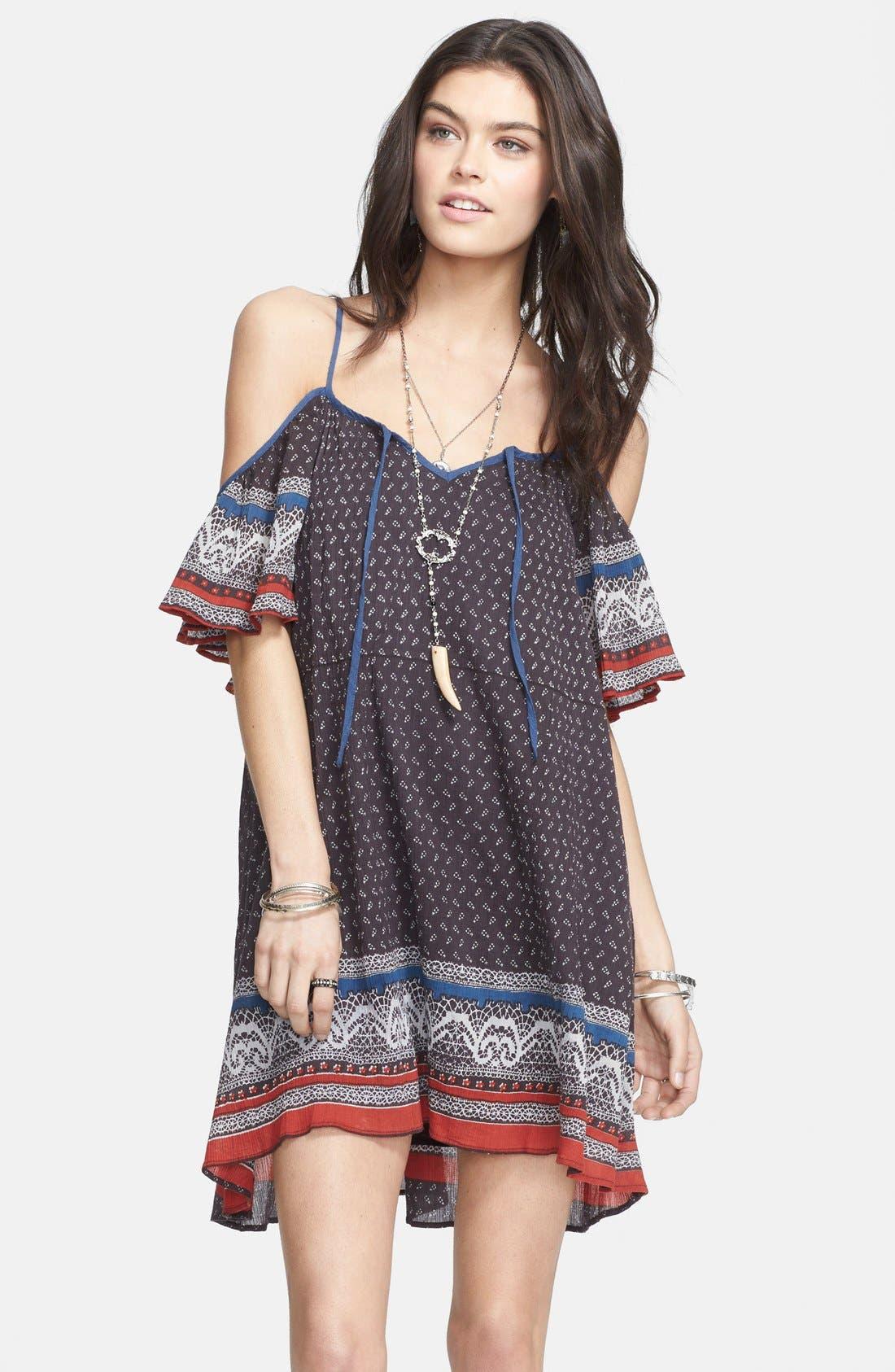 Cold Shoulder Cotton Peasant Dress,                             Main thumbnail 1, color,                             Black Combo