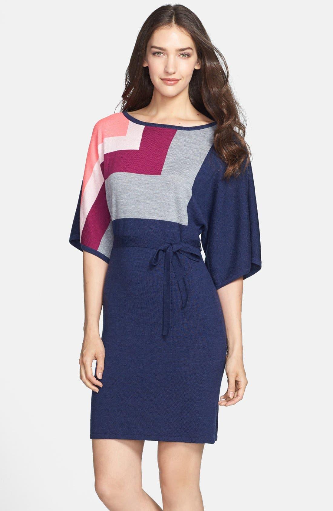 Alternate Image 1 Selected - Trina Turk 'Bonaire' Colorblock Merino Sweater Dress