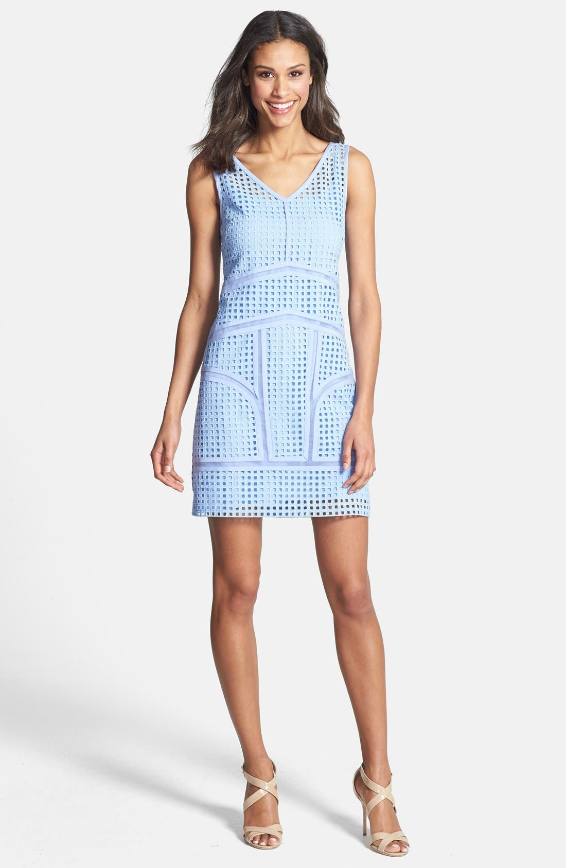 Alternate Image 3  - Ivy & Blu Inset Organza Trim Cotton Eyelet Shift Dress