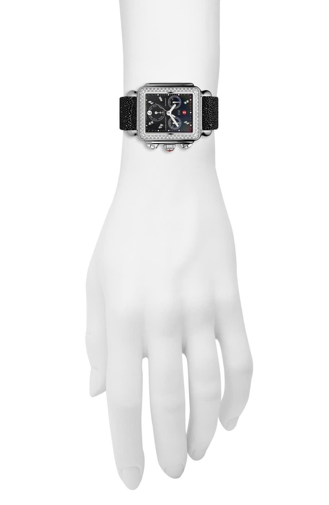 Deco Diamond Diamond Dial Watch Case, 33mm x 35mm,                             Alternate thumbnail 3, color,                             Silver/ Black
