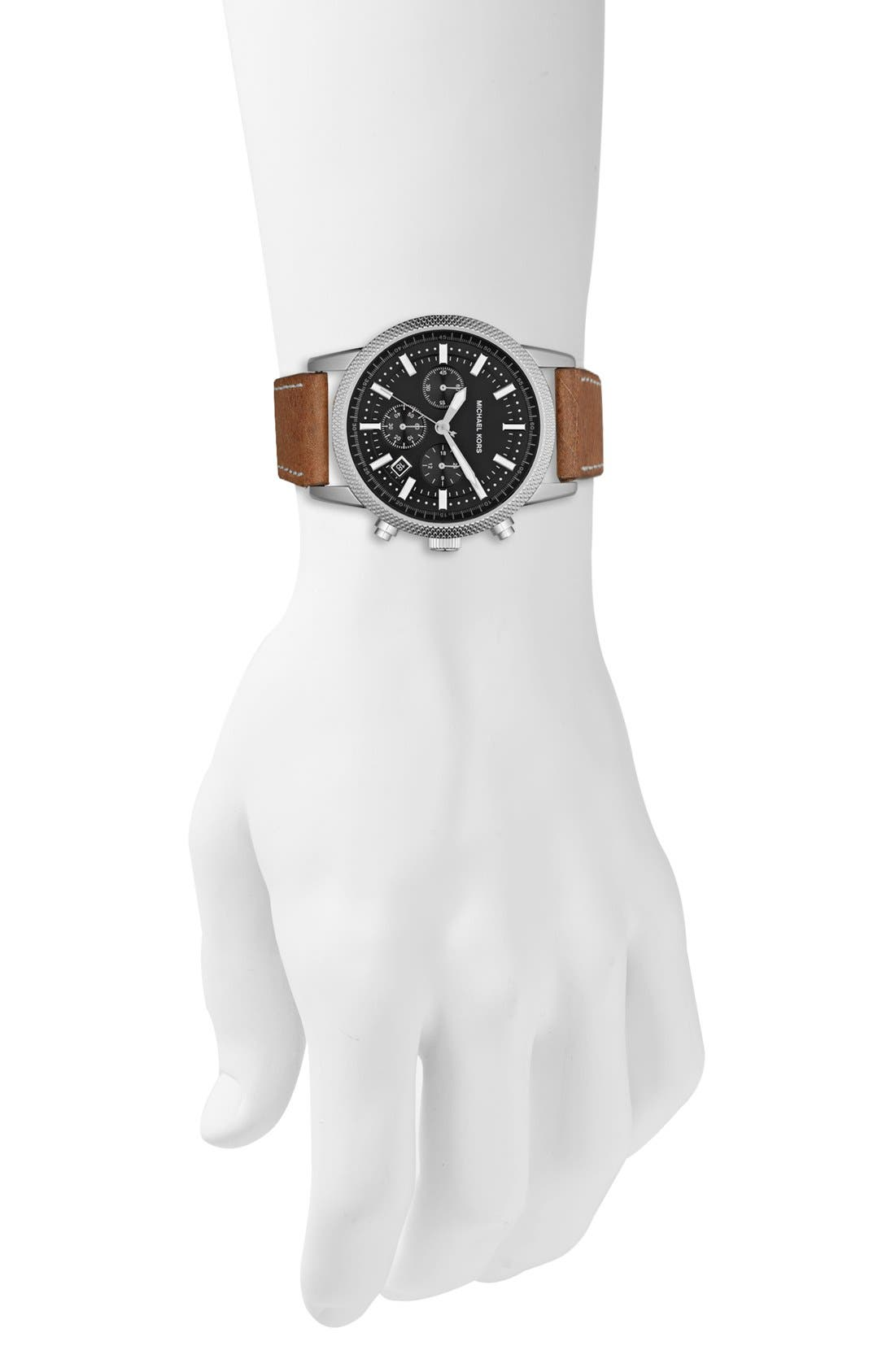 Alternate Image 2  - Michael Kors 'Scout' Chronograph Leather Strap Watch, 43mm