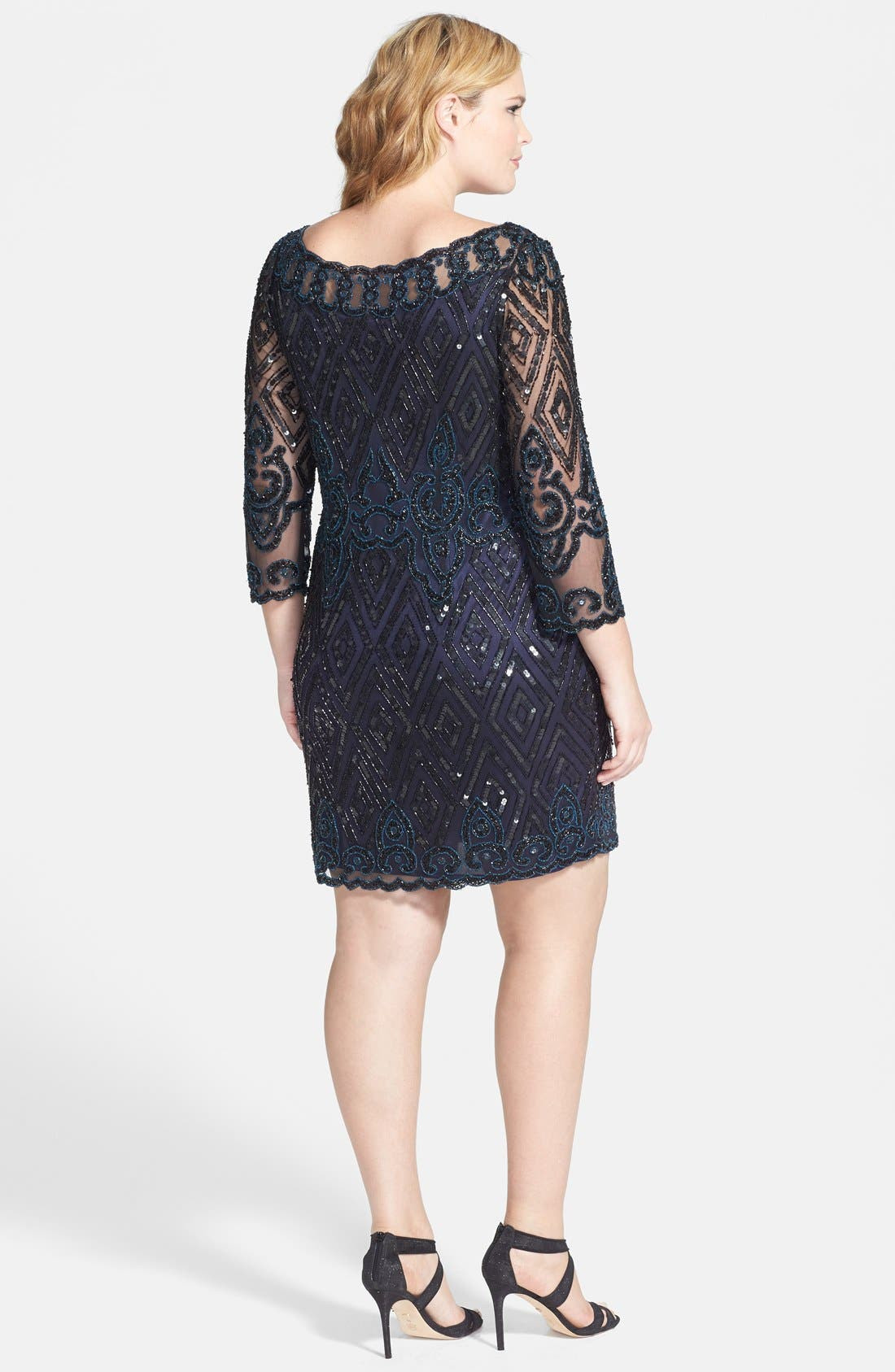 Alternate Image 2  - Pisarro Nights Embellished Short Cocktail Dress (Plus Size)