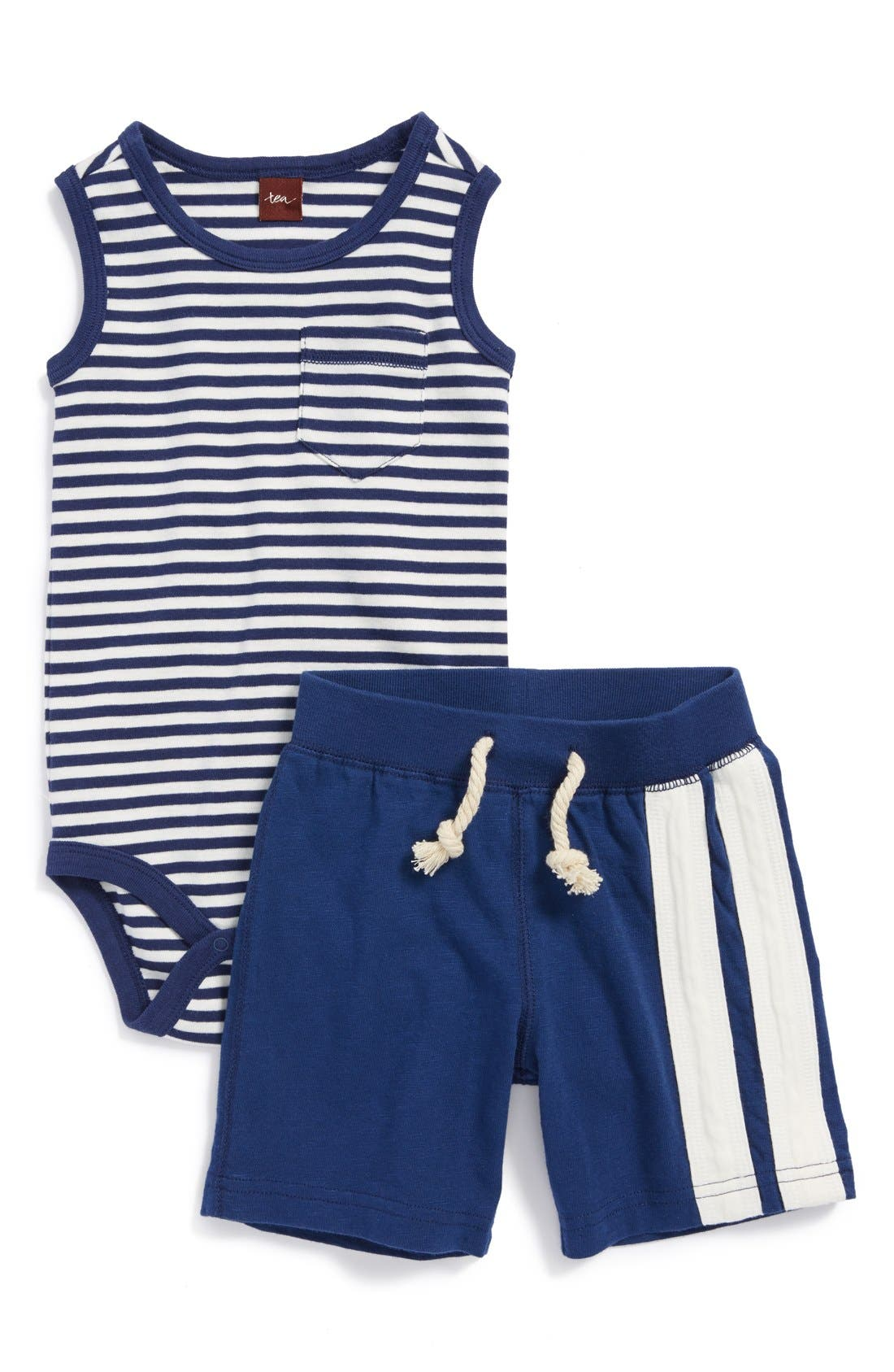 Alternate Image 1 Selected - Tea Collection Stripe Tank Bodysuit & Shorts (Baby Boys)