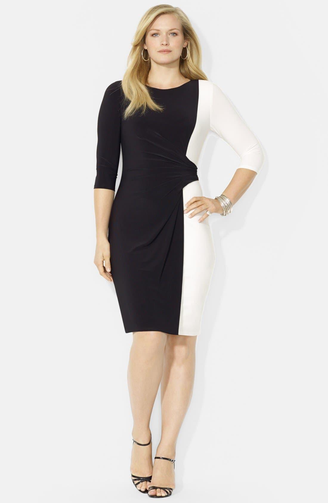 Alternate Image 1 Selected - Lauren Ralph Lauren Colorblock Matte Jersey Dress (Plus Size)
