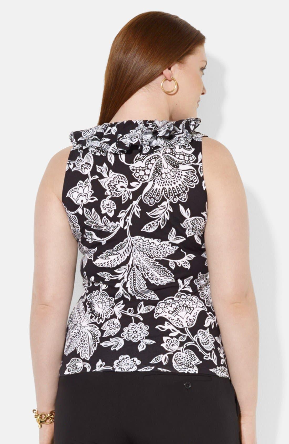 Alternate Image 2  - Lauren Ralph Lauren Floral Print Ruffle V-Neck Top (Plus Size)
