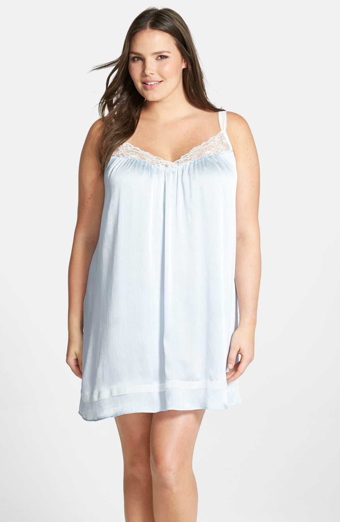 Alternate Image 1 Selected - Oscar de la Renta Sleepwear 'Classic Mix' Lace Trim Satin Chemise (Plus Size)
