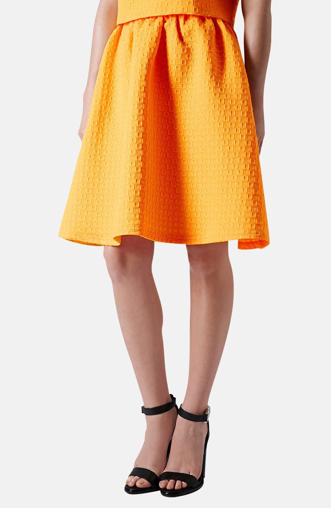 Textured A-Line Skirt,                         Main,                         color, Orange