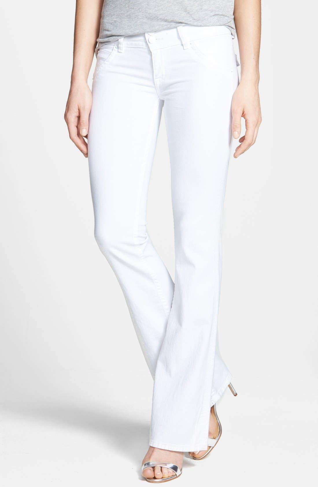 Alternate Image 1 Selected - Hudson Jeans Signature Flap Pocket Bootcut Stretch Jeans (White)