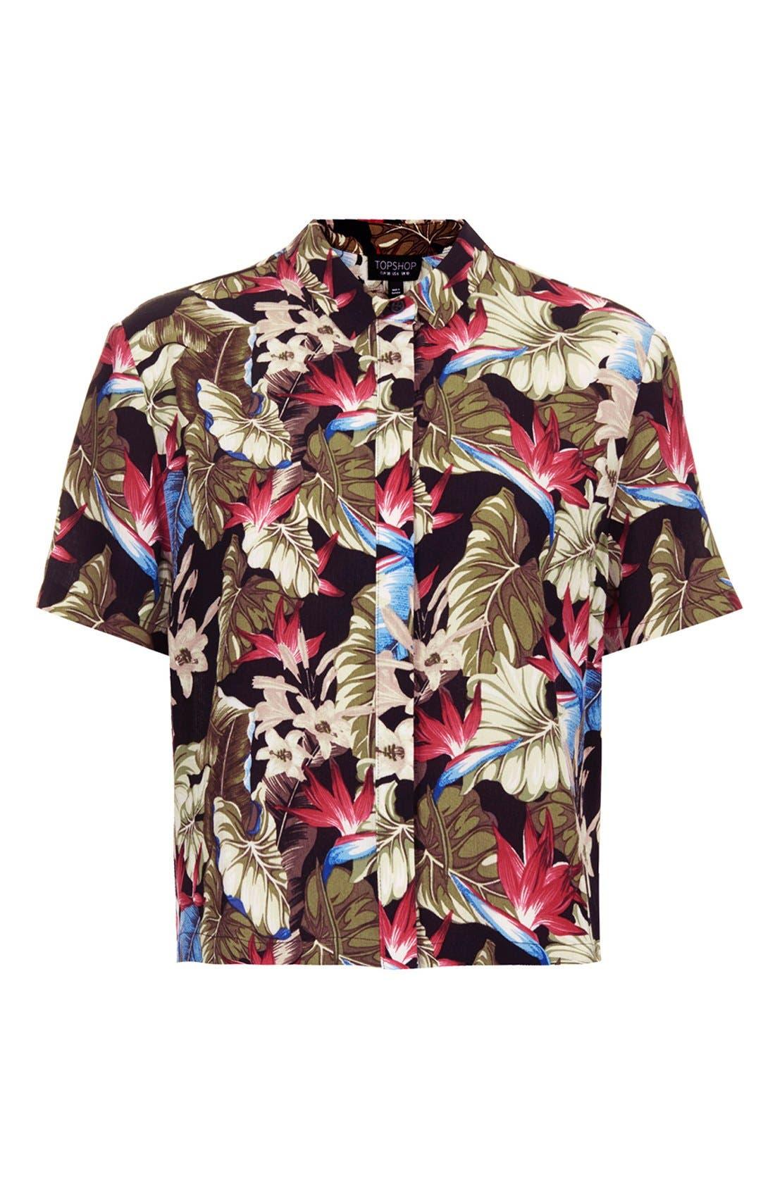 Alternate Image 3  - Topshop Leaf Print Shirt