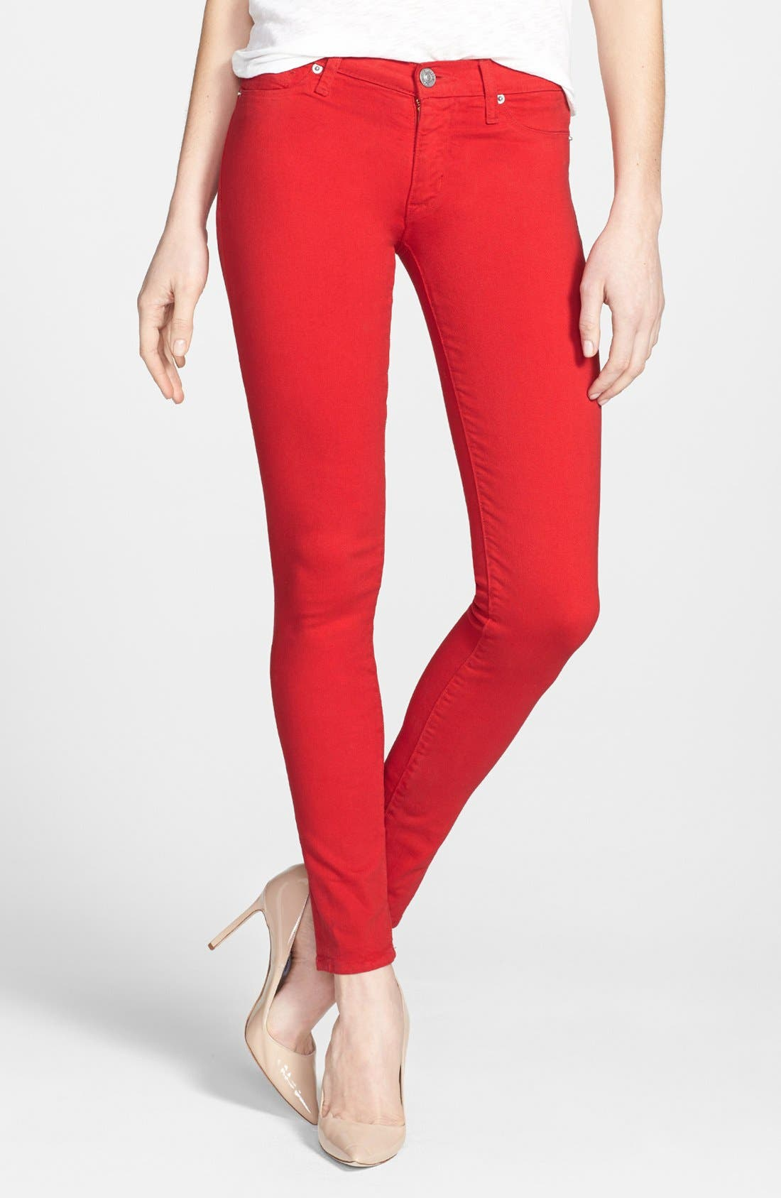 Mid Rise Skinny Jeans,                             Main thumbnail 1, color,                             Red