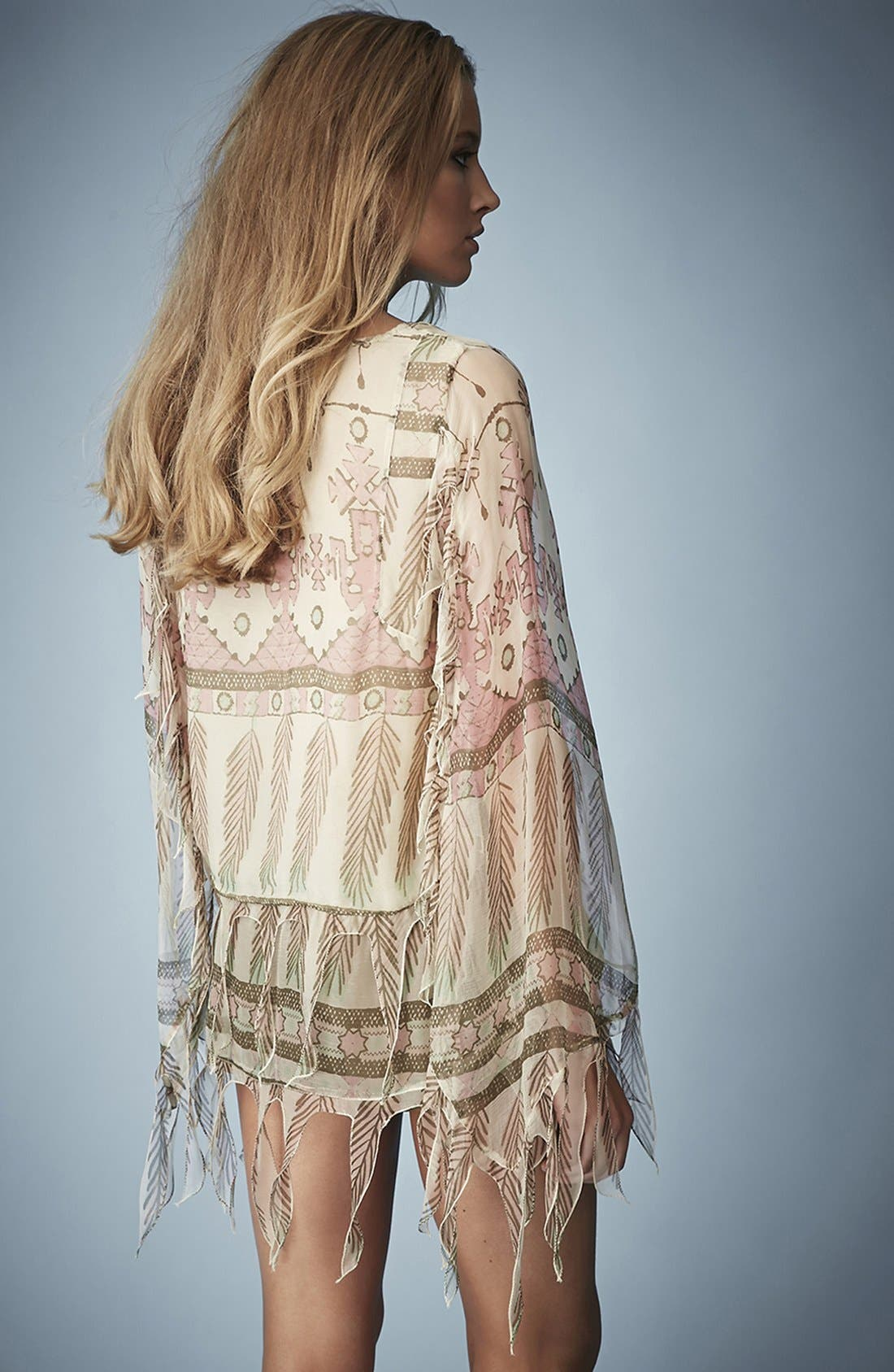 Alternate Image 2  - Kate Moss for Topshop Tassel Feather Print Blouse