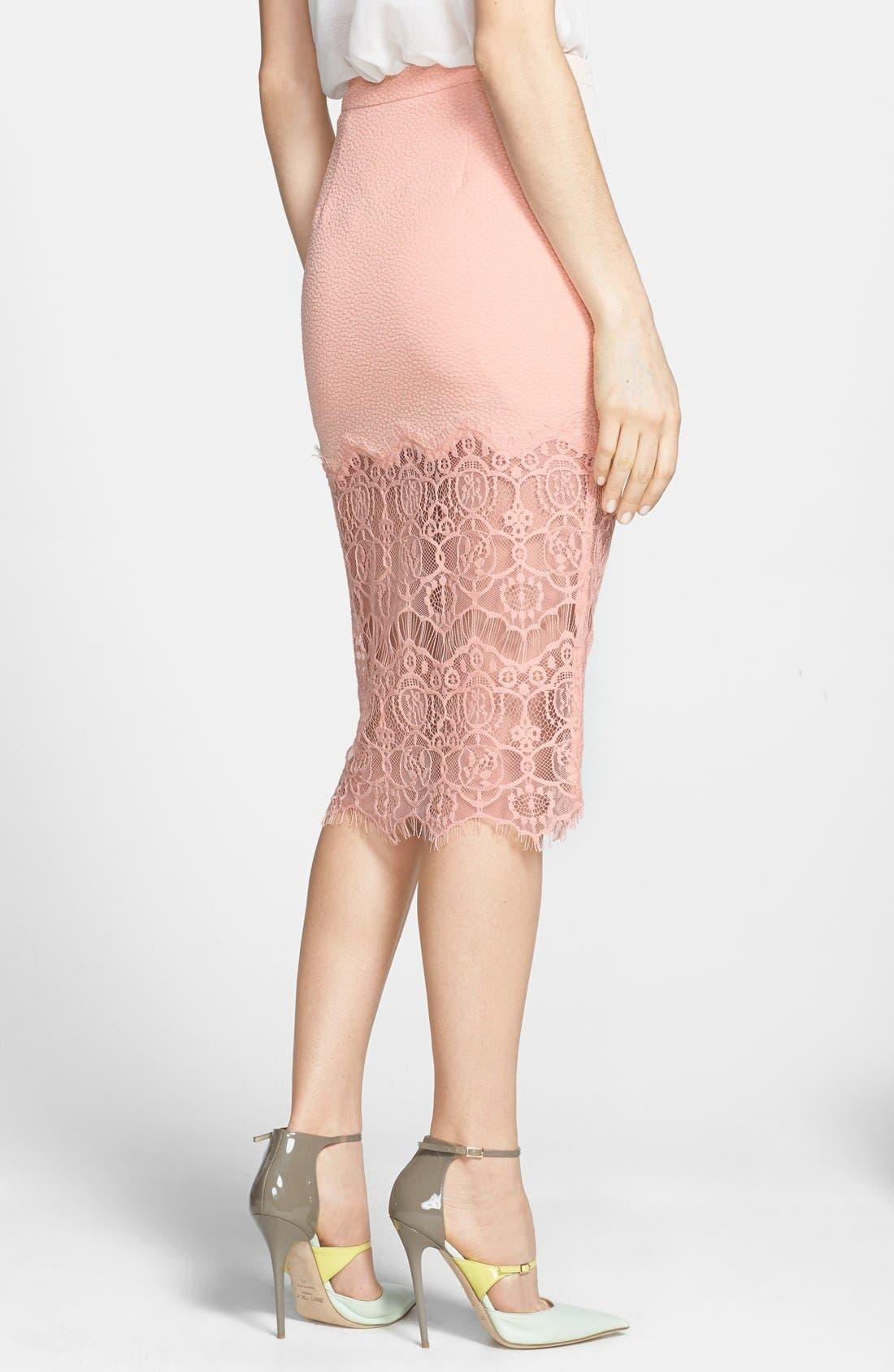 Alternate Image 2  - ASTR Textured Lace Hem Pencil Skirt