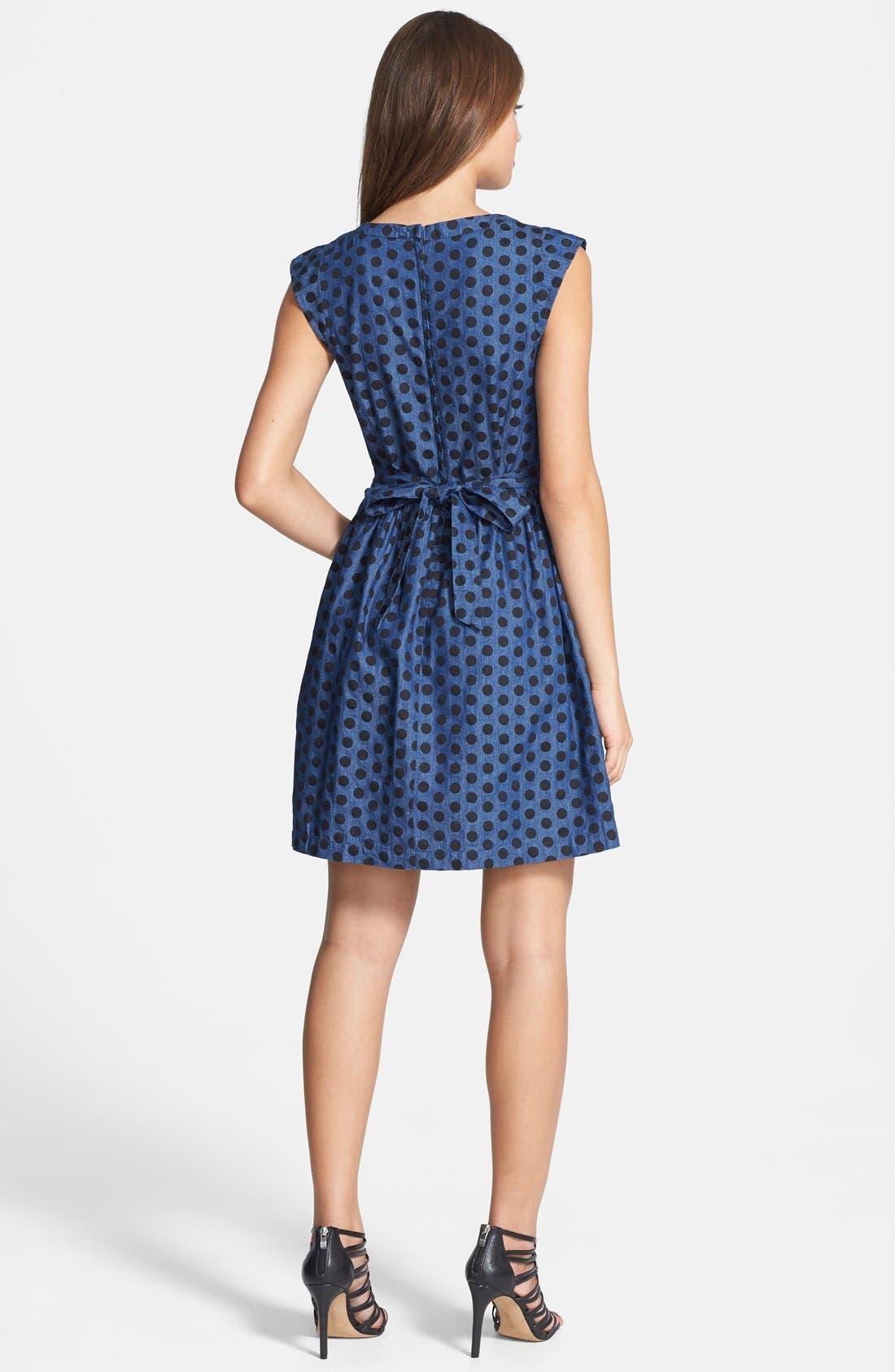 Alternate Image 2  - Dex Denim Dot Fit & Flare Dress