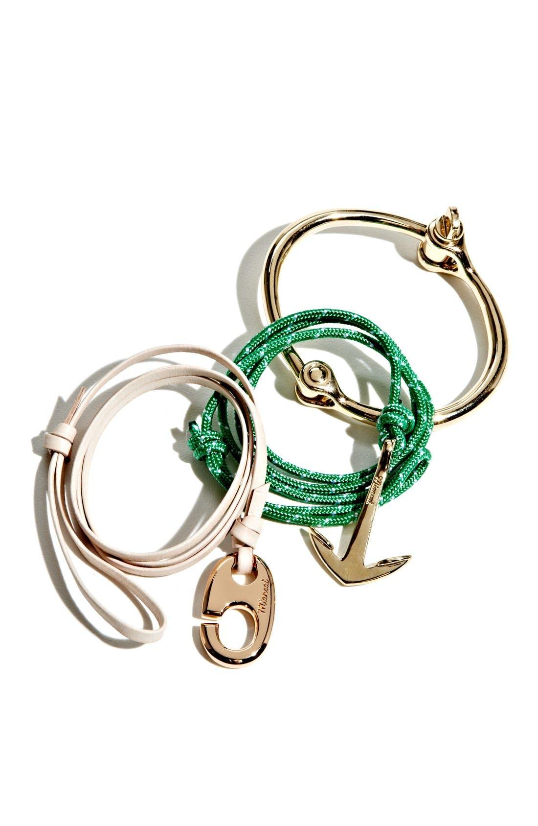 Rose Gold Mini Hook Leather Bracelet,                             Alternate thumbnail 2, color,