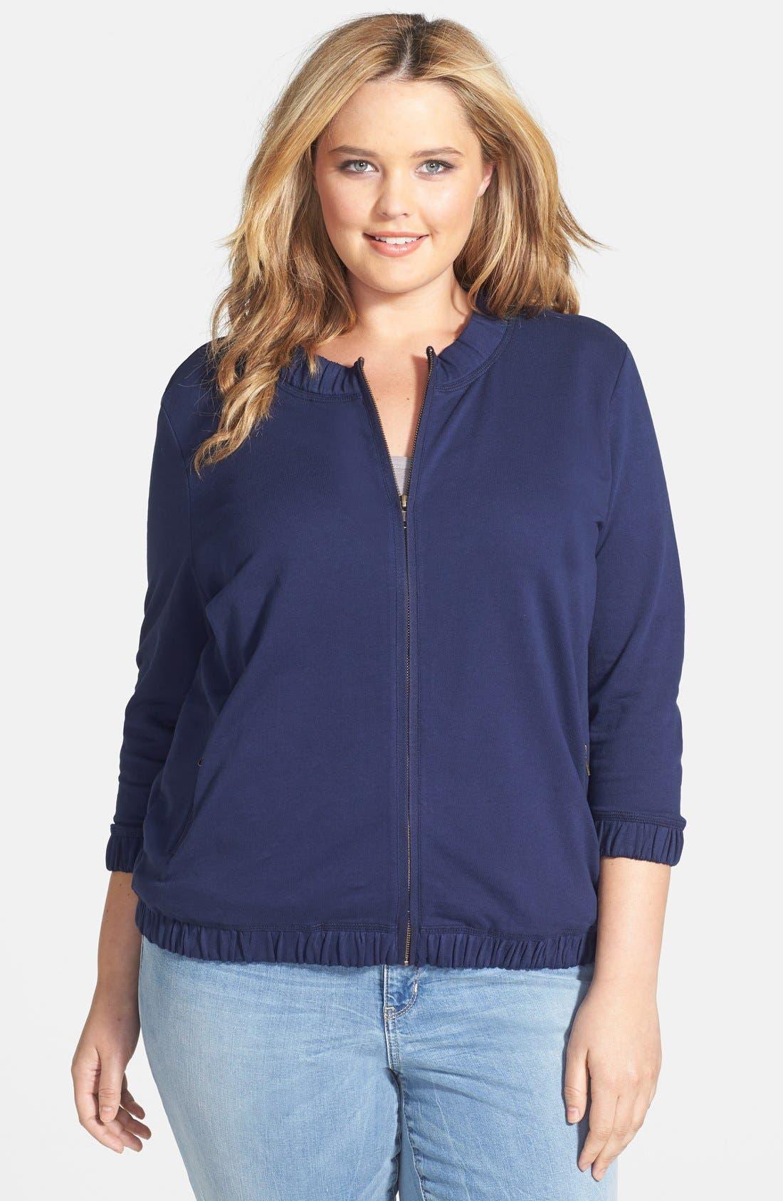 Main Image - Caslon® Front Zip Terry Jacket (Plus Size)