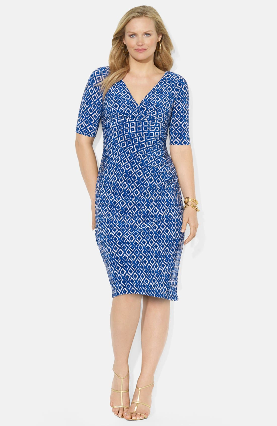 Alternate Image 1 Selected - Lauren Ralph Lauren Ikat Print Matte Jersey Dress (Plus Size)