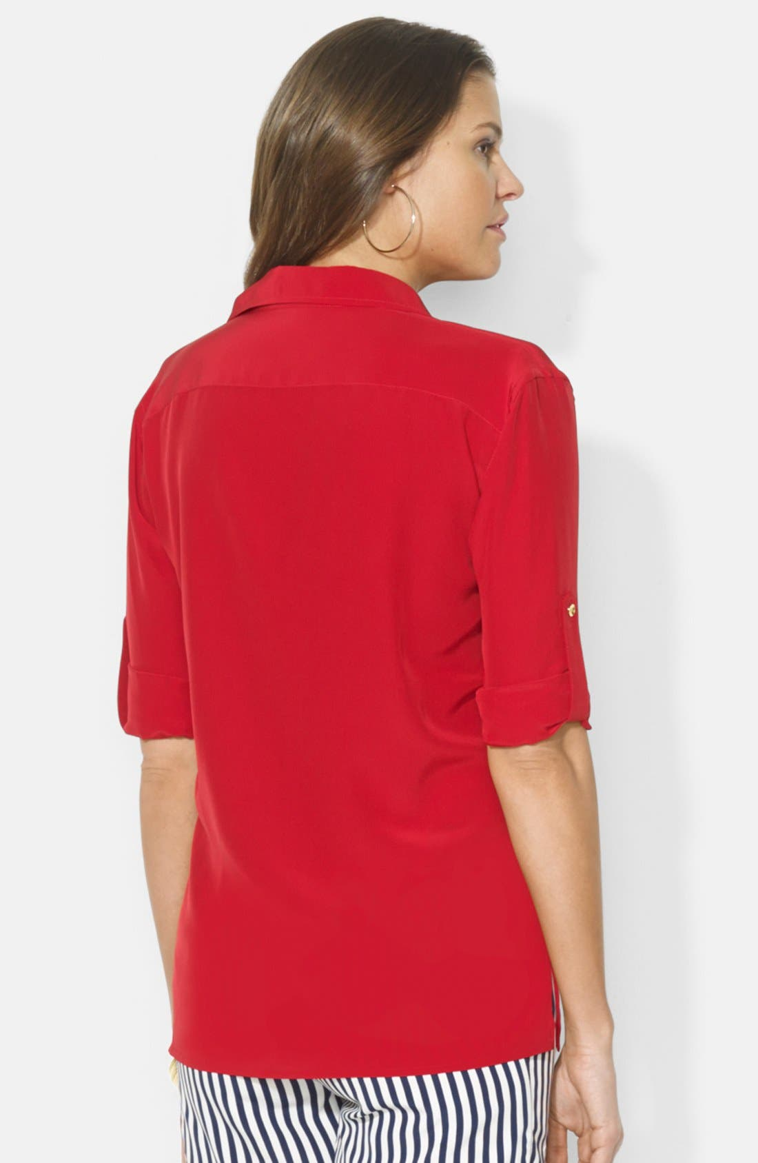 Alternate Image 2  - Lauren Ralph Lauren Lace-Up Silk Blouse