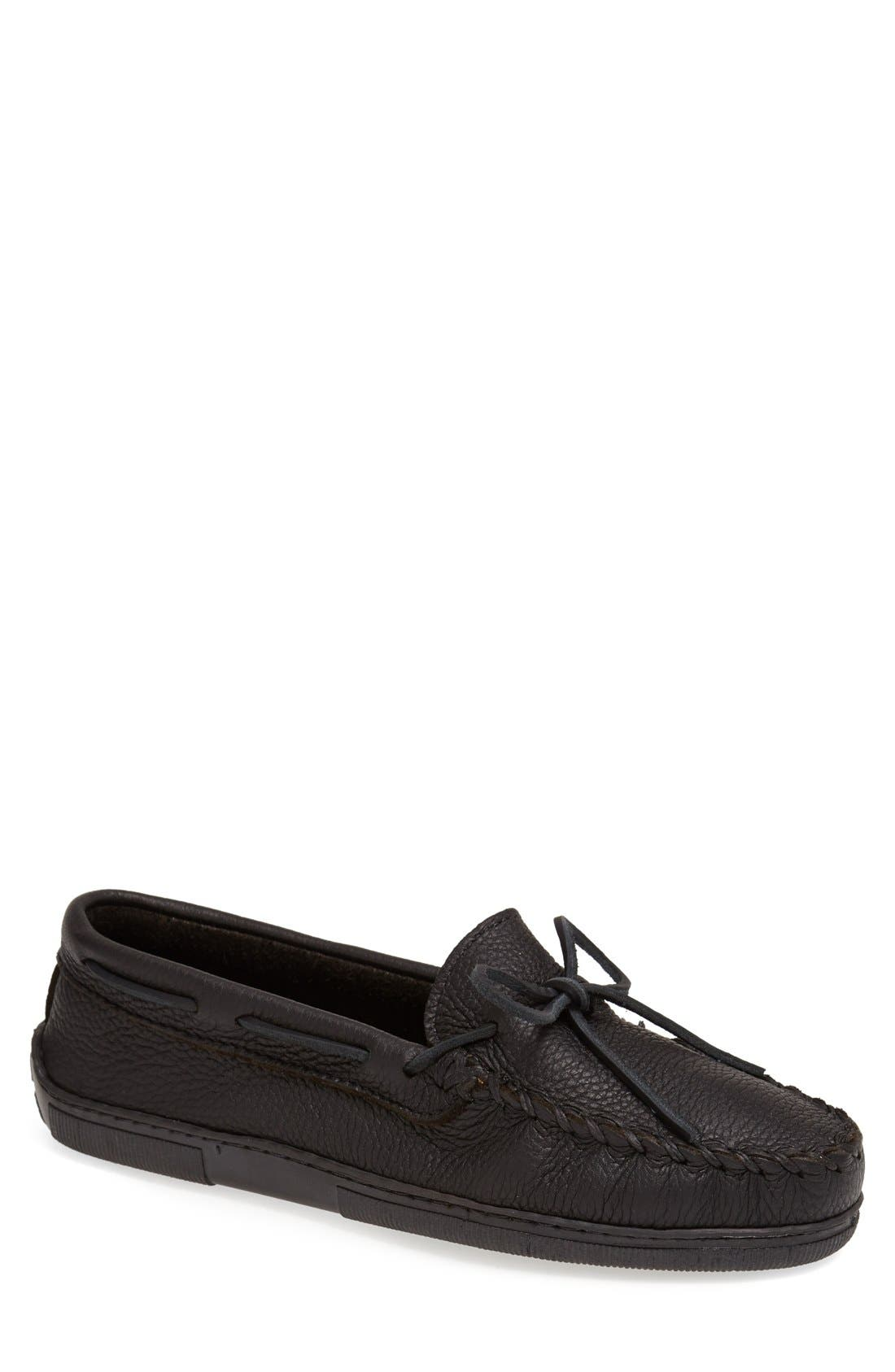 Moosehide Moccasin,                             Main thumbnail 1, color,                             Black