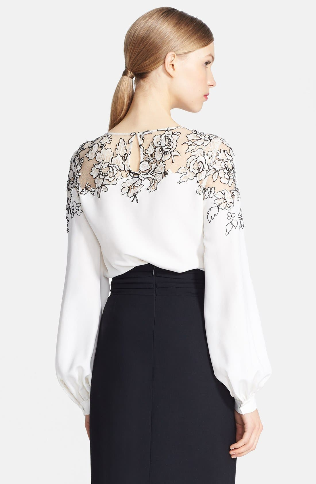 Embroidered Silk Blouse,                             Alternate thumbnail 2, color,                             Ivory