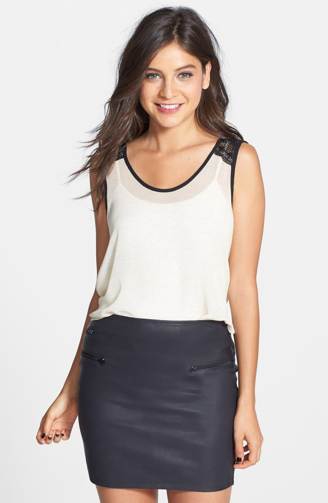 Alternate Image 1 Selected - Lush Lace Shoulder Cropped Tank (Juniors)