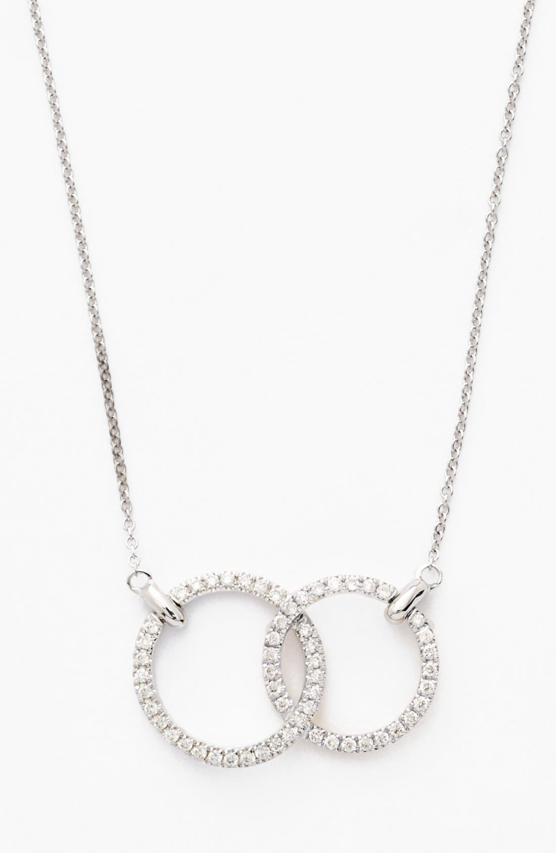 Double Diamond Circle Pendant Necklace,                         Main,                         color, White Gold