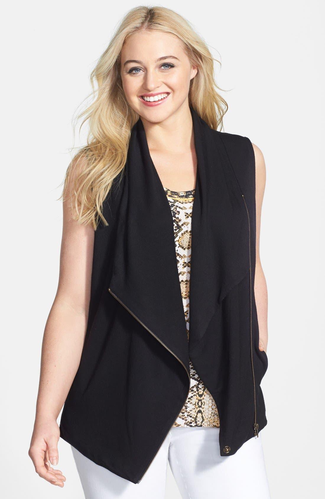 Alternate Image 1 Selected - Halogen® Drape Front Knit Vest (Plus Size)