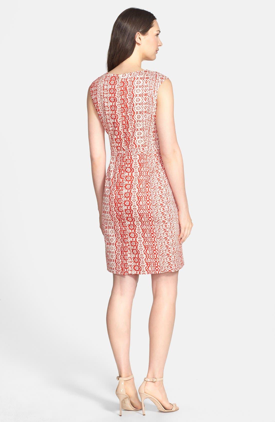 Alternate Image 2  - Ellen Tracy Print Stretch Cotton Sheath Dress