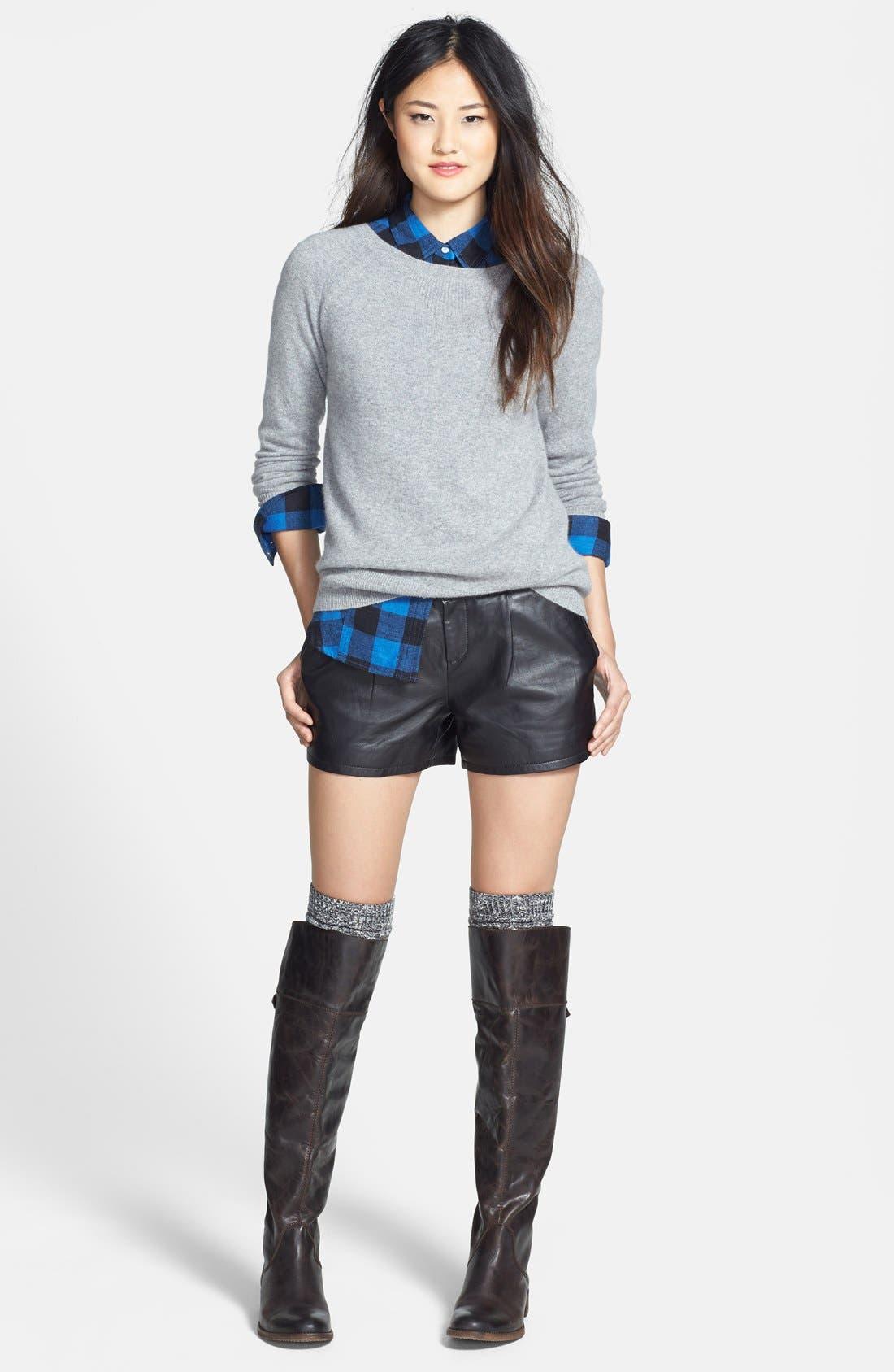 Alternate Image 4  - Halogen® Leather Shorts (Regular & Petite) (Online Only)