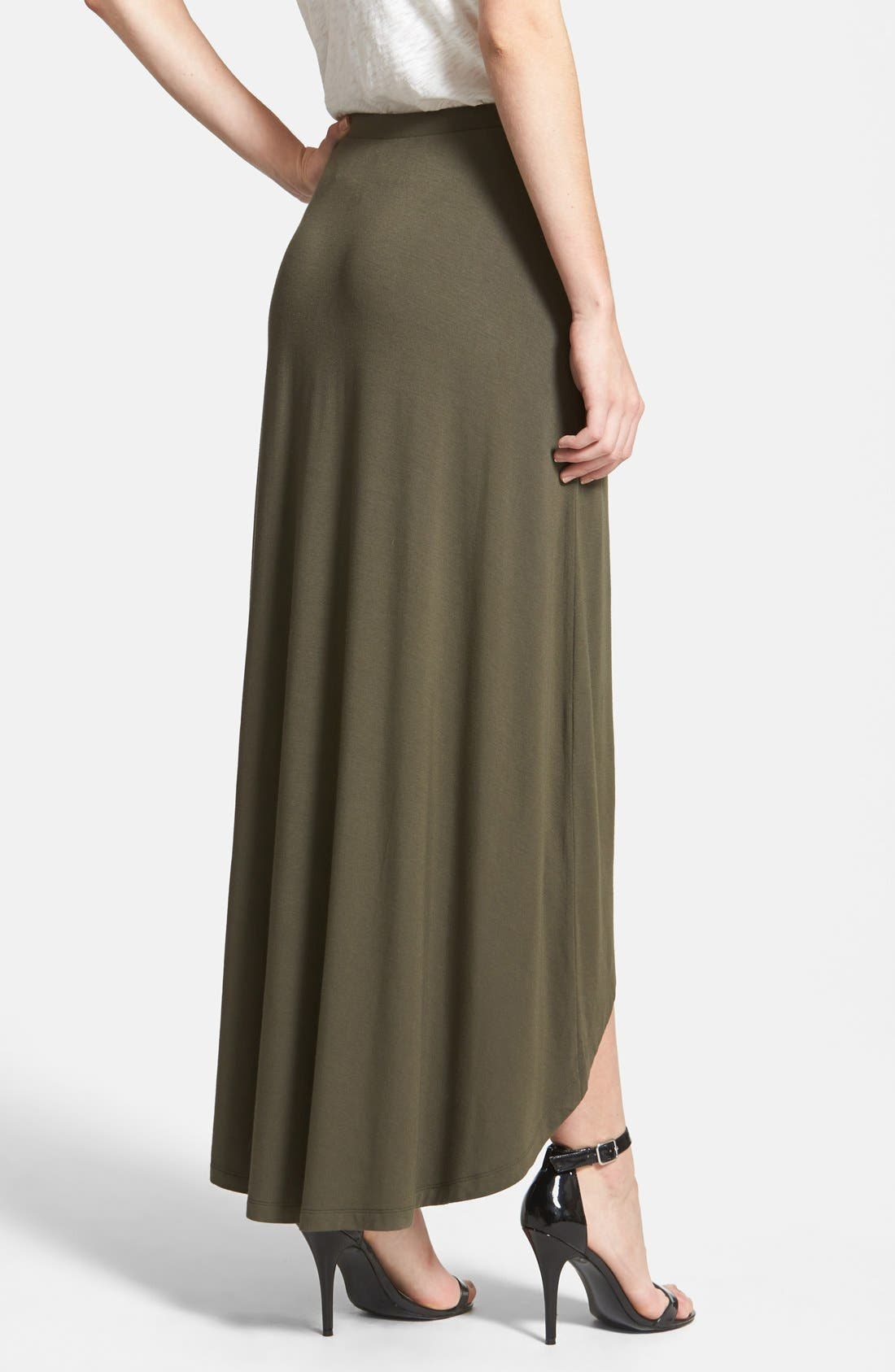Alternate Image 3  - Halogen® Stretch Knit High/Low Maxi Skirt (Petite)