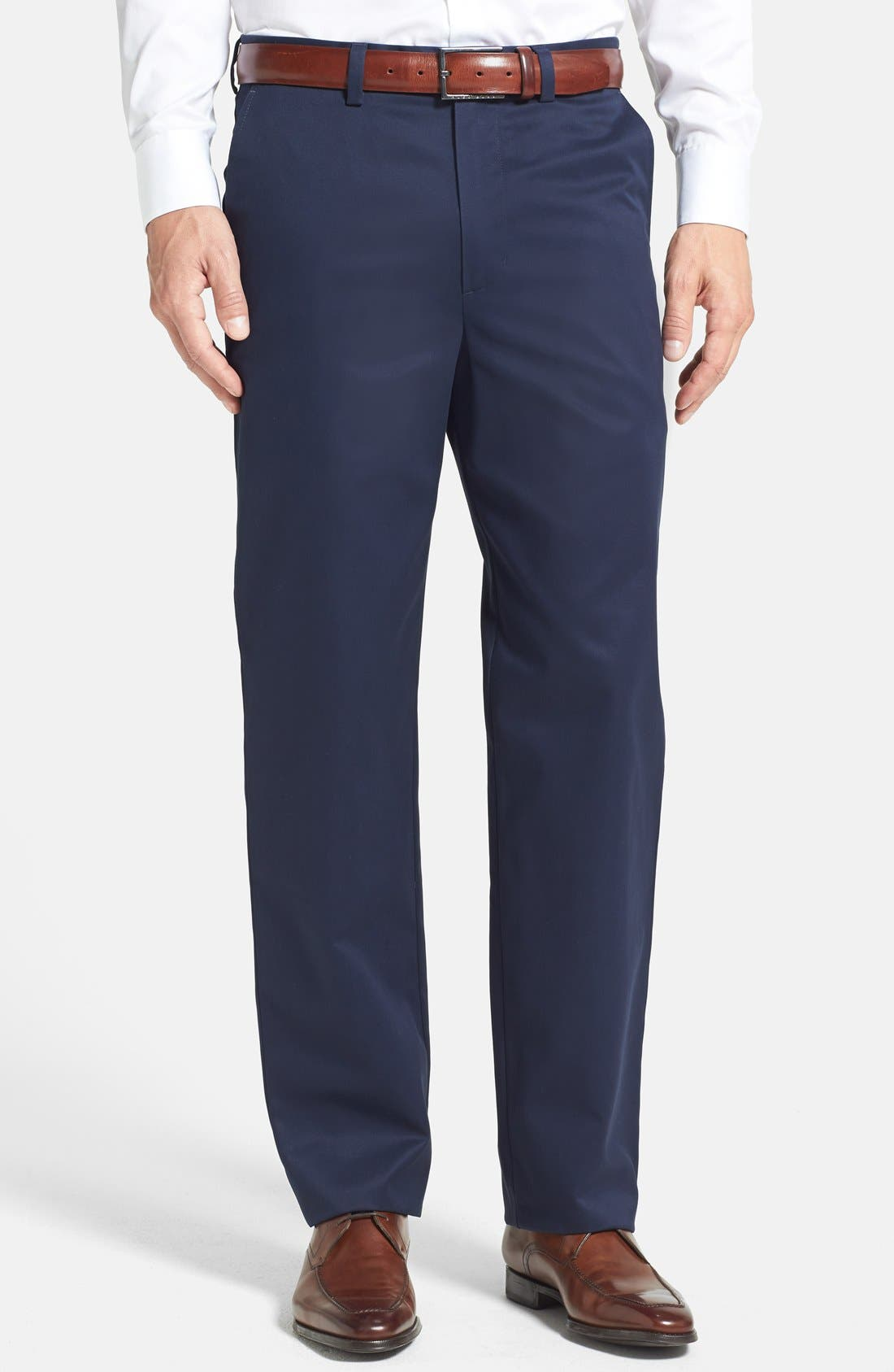 'Classic' Smartcare<sup>™</sup> Relaxed Fit Flat Front Cotton Pants,                             Main thumbnail 1, color,                             Navy