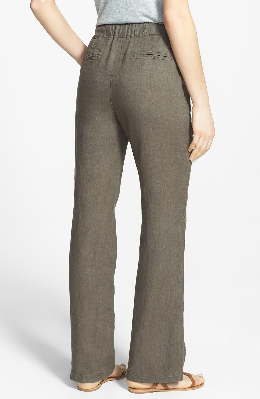 Alternate Image 2  - Caslon® Drawstring Waist Linen Pants (Regular & Petite)