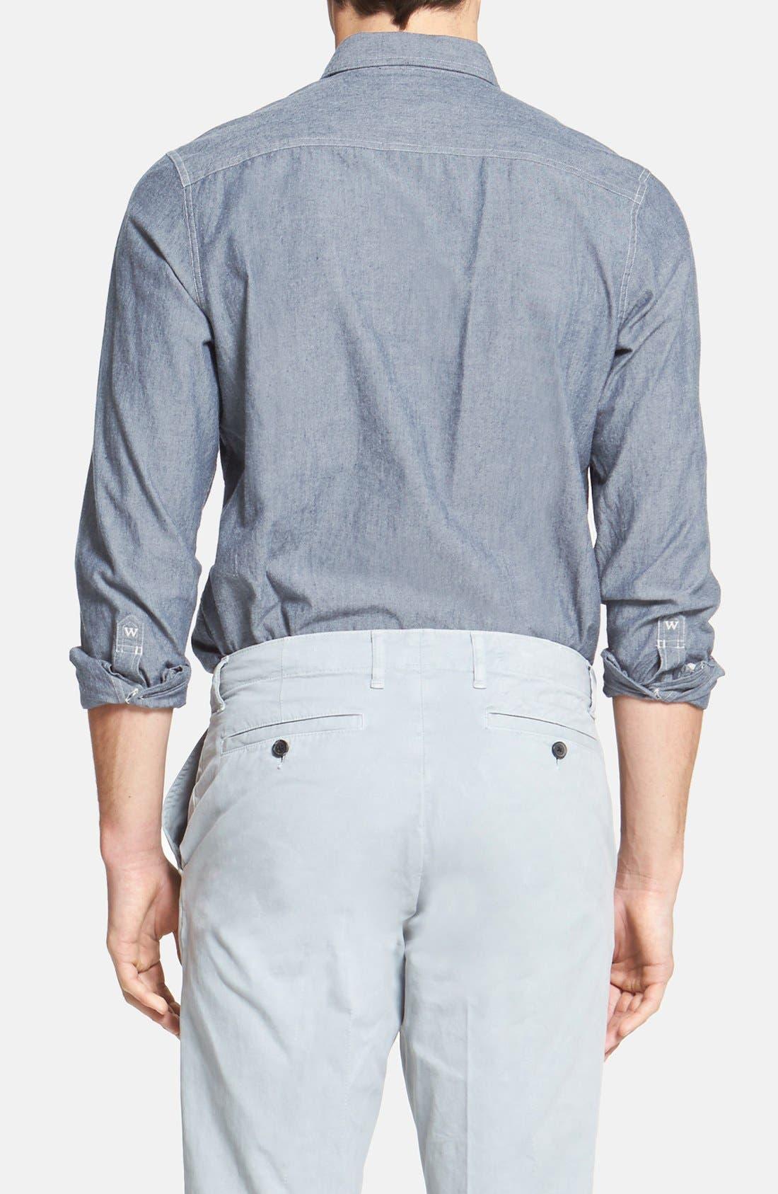 'Workwear' Trim Fit Chambray Sport Shirt,                             Alternate thumbnail 2, color,                             Light Blue