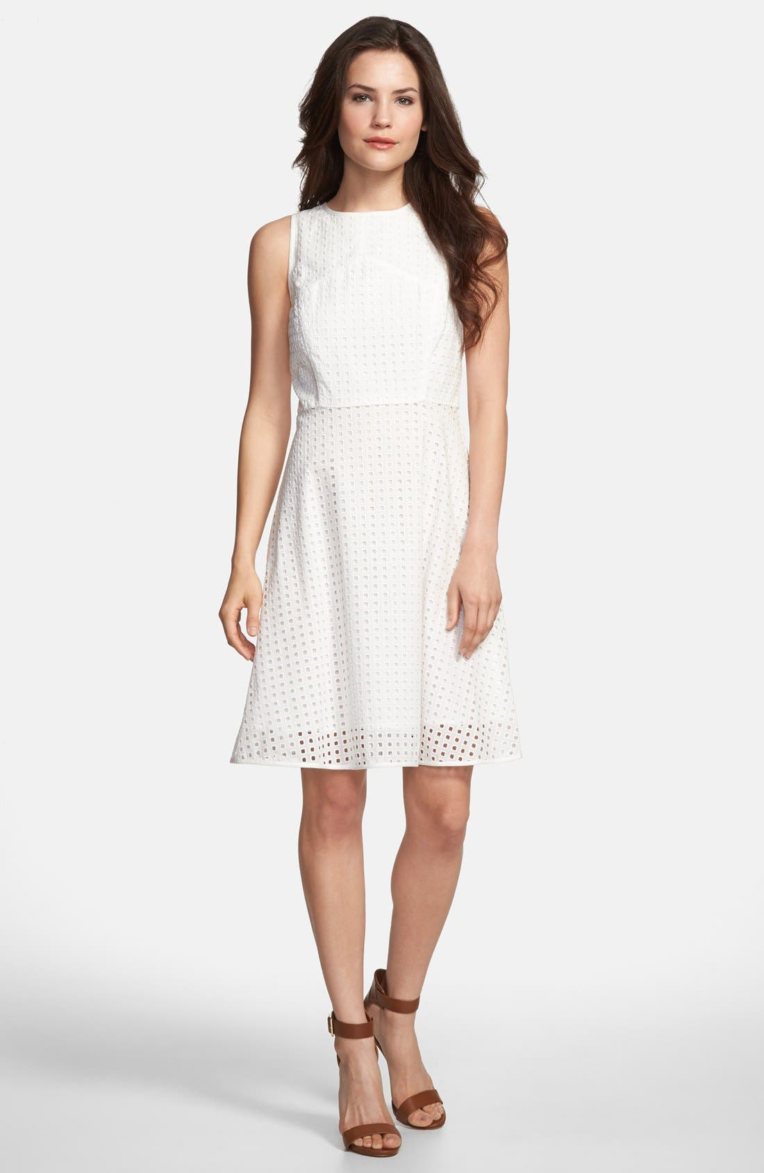 Main Image - Vince Camuto Square Eyelet Cotton Fit & Flare Dress